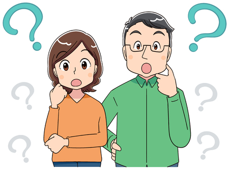 A middle-aged man and a middle-aged woman have doubts. Illustration