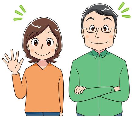 A middle-aged man and a middle-aged woman's portrait. Banco de Imagens - 124834406