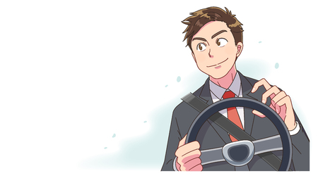 A businessman is driving a car. He is staring at the distance with a smile. Standard-Bild - 124834408