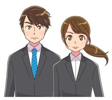 Hombres y mujeres jóvenes en traje están mirando el frente