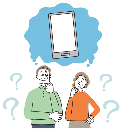 Senior man and woman are thinking about smartphones.