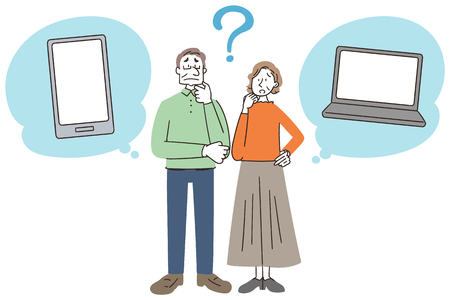 Senior man and woman are thinking about personal computers and smartphones. Illustration