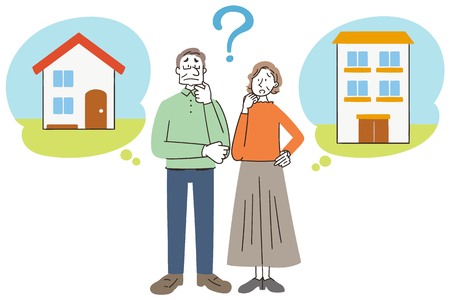 Senior man and woman are thinking about the residence.