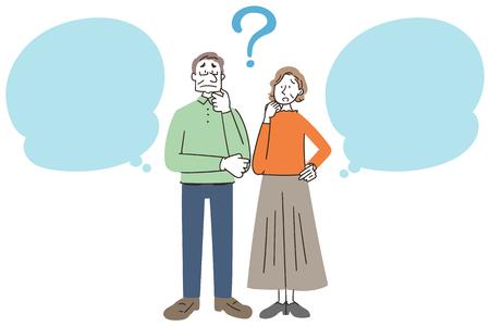 Senior man and woman have doubts as speech balloon. Foto de archivo - 124803177
