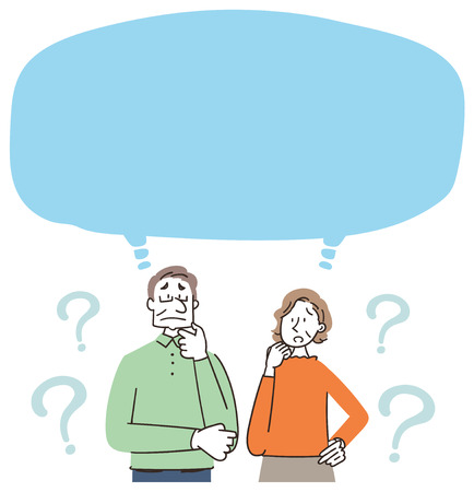 Senior man and woman have doubts as speech balloon.