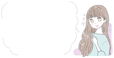 A young woman has beautiful hair. A text space beside it.