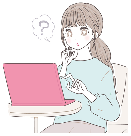 A young lady is using a personal computer. She has doubts Illustration