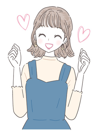 A young lady is pleased. With heart mark. Illustration