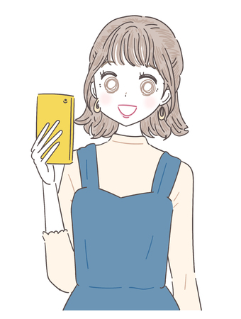 A young lady sees the right side while holding a smartphone. Ilustrace