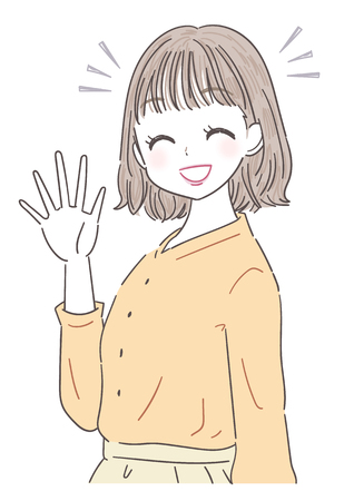 A young woman greeted with a smile Ilustrace