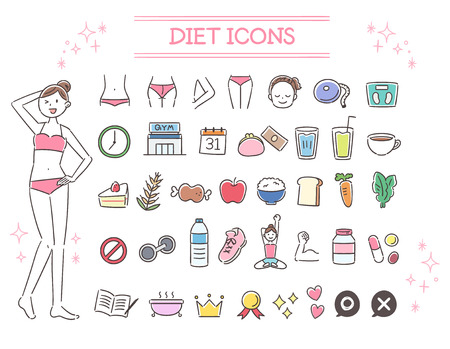 A collection of icons on diet and slim body shape