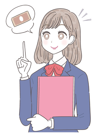 A high school girl is thinking about money Illustration