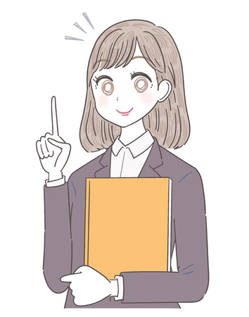 Business woman is pointing at index finger