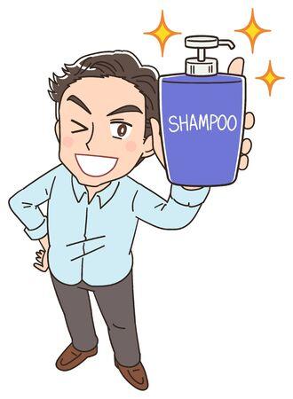 Un uomo ha una bottiglia di shampoo Vettoriali