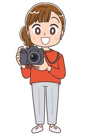 Young woman has a SLR camera 일러스트