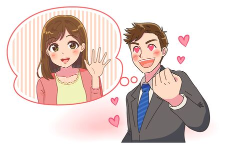 Portrait of businessman upper body. He is in love with his eyes as a heart symbol. He imagines a cute girl. Illustration