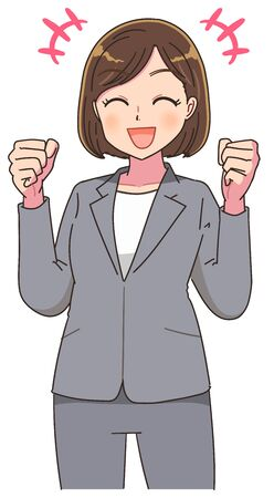 Portrait of a business woman. She is pleased with her fist