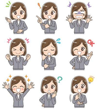 Young business woman has various facial expressions.