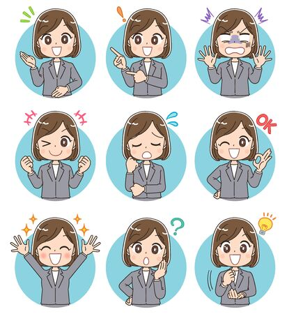 Young business woman has various facial expressions. Round icon. Vettoriali