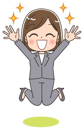 Young business woman is happy while jumping. This is a full body portrait