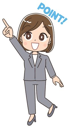 "Young business woman is pointing to the upper left with a smile. The text ""point�. This is a full body portrait"