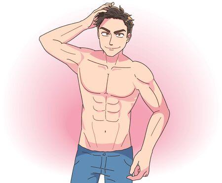 Le jeune homme est sexy. Il est torse nu.