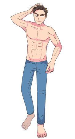 El joven está confiado. Está sin camisa. Este es un retrato de cuerpo entero.