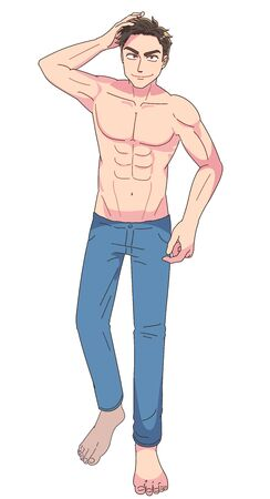 The young man is confident. He is shirtless. This is a full body portrait.