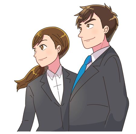 Young business man and woman look into the distance with a smile. She is confident.