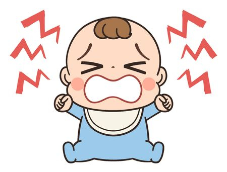 Cute baby in blue clothes.He is crying dissatisfied.