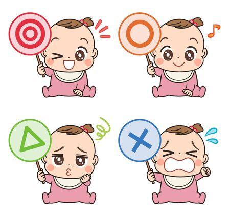 Een schattige baby in roze kleding. Ze heeft een label dat het symbool vertegenwoordigt.
