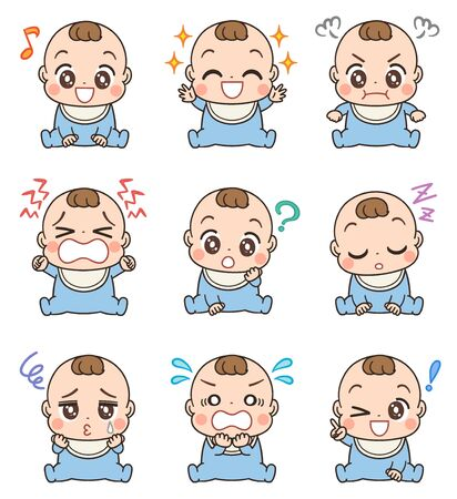 Cute baby in blue clothes.He has various facial expressions.