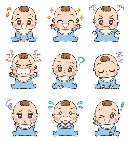 Nettes Baby in blauer Kleidung. Er hat verschiedene Gesichtsausdrücke.