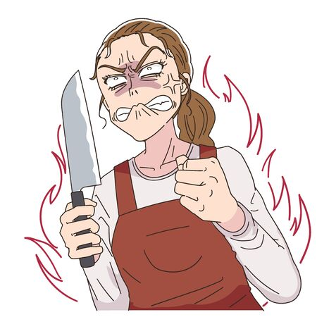 A woman wearing a red apron.She is furious with a knife in her hand.