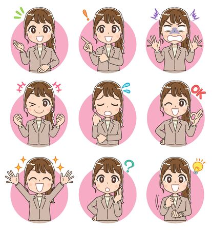 A business woman in a suit.A collection of her various expressions.