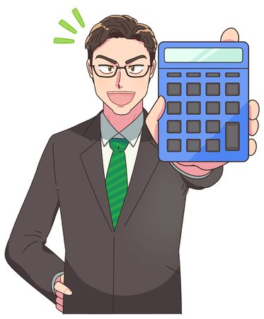 A young and excellent businessman.He has a calculator. Ilustrace