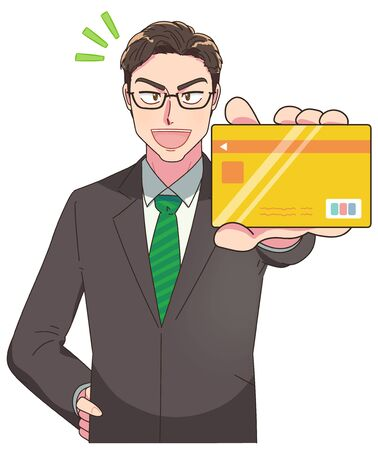 A young and excellent businessman.He has a credit card. Vektorové ilustrace