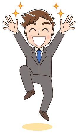 Young business man.He rejoices while jumping. Векторная Иллюстрация
