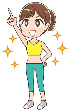 A young woman is wearing sportswear.She is emotional.  イラスト・ベクター素材