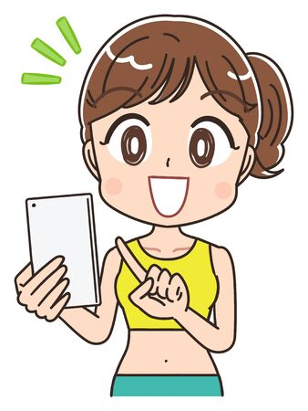 A young woman is wearing sportswear.She has a smartphone.