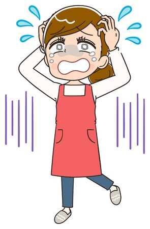 Young housewife wearing red apron.She is emotional. Illustration