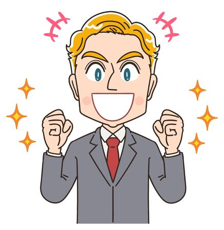 Blond young business man in suit.He has positive emotion.