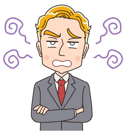 Blond young business man in suit.He has a negative expression.