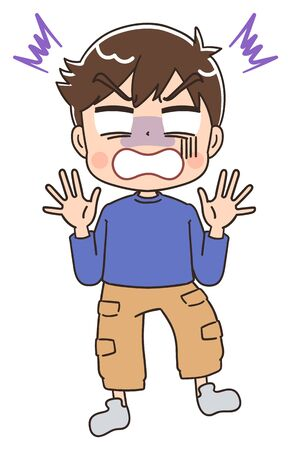 Elementary school boy in blue clothes.He has negative emotions. Ilustração