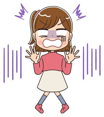 Elementary school girl in pink clothes.She has negative emotions.