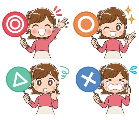 Elementary school girl in pink clothes.She has a tag indicating the rating. Vector Illustratie