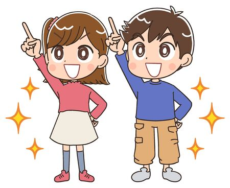 Elementary school boy and girl.They have positive emotions.