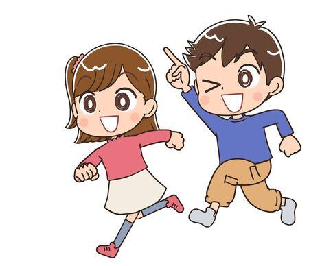 Garçon et fille de l'école primaire. Ils ont des émotions positives. Vecteurs