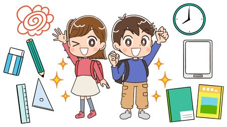 Elementary school boy and girl.With some elements about the school.