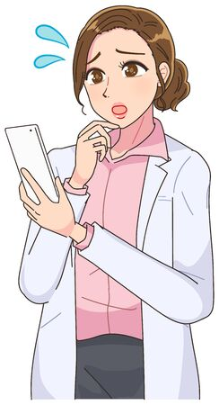 Beautiful woman in white coat.Beautiful woman in white coat.She uses a smartphone.